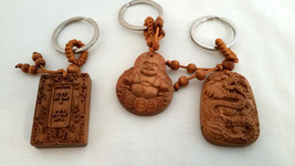 Set of 3 NEW  Bamboo Good Luck Key chains Buddha, Dragon, and Holy Book image 2