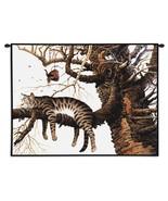 34x26 Sleeping Cat Kitty In Tree Tapestry Wall Hanging  - $65.00