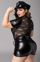 Black Leather Lace Queen Frisky Cop Deluxe Costume Set image 2