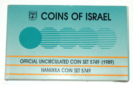 1989 Coin Double Set Israel Hanukkah Official Uncirculated 10 Coins w Case image 3