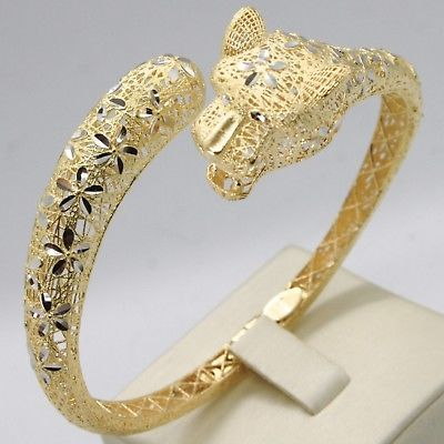 18K YELLOW WHITE GOLD BANGLE RIGID BRACELET, PANTHER HEAD FLOWERS, MADE IN ITALY