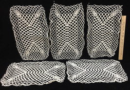 """Placemats Crocheted Set 5 Rectangle w/ Square Pattern 15"""" x 10"""" Vintage ... - $14.84"""