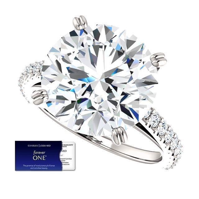 6.50 Carat Moissanite (ForeverOne) and Diamond Ring 14K Gold (Charles & Colvard)