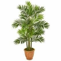 "Luxury Multicolor 59? Areca Palm Artificial Tree in Terracotta Planter - 59"" - $262.88"