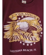 Vintage 1997 Daytona Bike Week 56th Annual Burgundy T Shirt Cotton XL Me... - $39.59