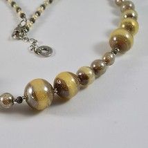 NECKLACE ANTICA MURRINA VENEZIA MURANO GLASS SPHERES YELLOW BROWN, 45 CM image 2