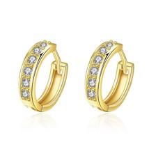 Crystal hoop earrings 18K  earings Yellow Gold Filled Fashion Wholesale Lot - $9.79