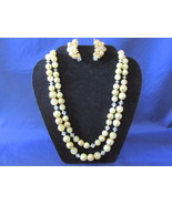 Vintage Two Strand Yellow Beaded Necklace & Clip On Earrings Set, Crysta... - £10.86 GBP