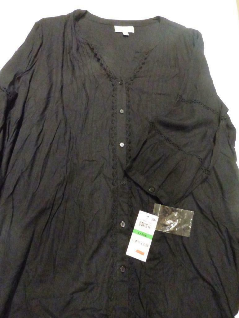 $49.00 JM Collection Pleated Crochet-Trim Blouse, Large, Deep Black