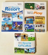 Wii game bundle lot Wii Sports Resort (Wii, 2009) Wii Play and Wii sport... - $79.19