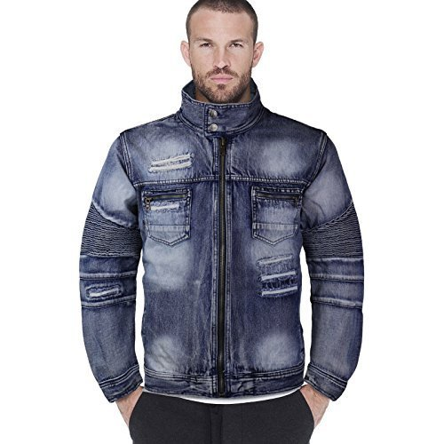 Contender Men's Distressed Zip Up Cotton Denim Jean Jacket 9DJ03 (3XL, Indigo)