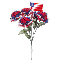Darice Patriot Carnation Bush with Flag: 6.5 x 12 inches w - $5.49