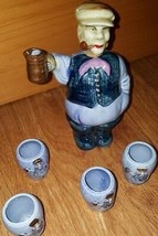 Vtg Ceramic JAPAN Man with Beer Stein Smoking Pipe Decanter Bottle head ... - $27.70
