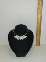 Elegant Alloy Rhinestone Gold Tone Faux Bone Adjustable Bib Necklace - $19.79