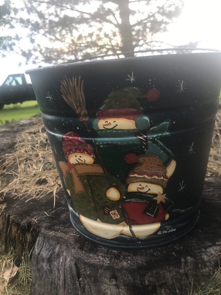 Galvanized Bucket Metal Pail Snowman Painted Winter Scene Decor Bail Handle #10