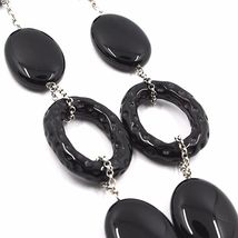 18k White Gold Necklace, Onyx Black, Round and Oval Pendant, Chain Rolo image 4