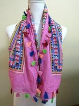 Womens Spring Summer Aztec Tribal Boho Tassel Scarf Shawl Pink Multi Col... - $20.56