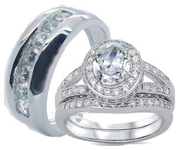 His and Hers Wedding Rings Solid 925 Sterling Silver Cz Wedding Ring Set - $59.99