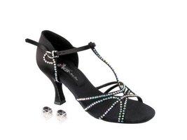 "Very Fine Ladies Women Ballroom Dance Shoes EKCD2802 Black Satin 2.5"" Heel (7M) - $79.95"