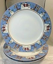 "Sakura Snowman 3 stoneware dinner plates 10 3/4"" by  Debbie Mumm 1977 mint - $14.84"