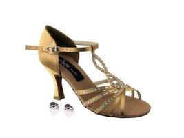 "Very Fine Ladies Women Ballroom Dance Shoes EKCD2806 Tan Satin 2.5"" Heel (9M) - $79.95"