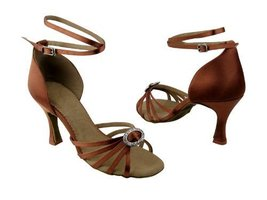 "Ladies' Latin Rhythm Salsa SERA1123 Dark Tan Satin 3"" Heel (9M) - $65.95"