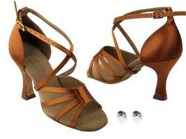 Ladies Women Ballroom Dance Shoes for Latin Salsa Tango C1601 Dark Tan Satin ... - $75.95