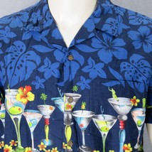 RJC Hawaiian Hawaii Martini Cocktails Floral Aloha Shirt Large Hibiscus ... - $37.39