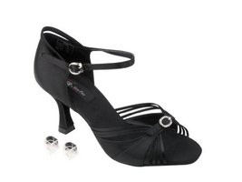 "Very Fine Ladies Women Ballroom Dance Shoes EKCD2166 Black Satin 3"" Heel (5M) - $79.95"