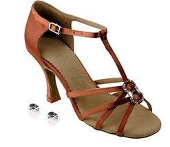 "Very Fine Ladies Women Ballroom Dance Shoes EKSA1120 Dark Tan Satin 2.5"" Heel... - $65.95"