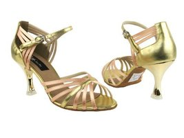 Ladies Ballroom Latin Salsa Tango Dance Shoes CD3012 Beige Satin & Gold ... - $79.95