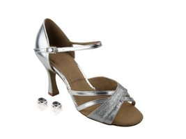 Very Fine Ladies Women Ballroom Dance Shoes EKSA6030 Silver Stardust & S... - $65.95