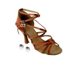 "Very Fine Ladies Women Ballroom Dance Shoes EKSA5008 Tan Satin 3"" Heel (8M) - $65.95"