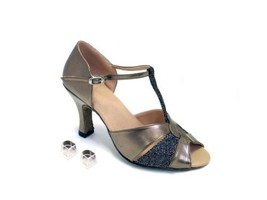 Very Fine Ladies Women Ballroom Dance Shoes EK6006 Copper Leather & Black Spa... - $64.95