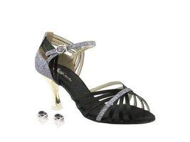 Very Fine Ladies Women Ballroom Dance Shoes EKCD3012 Black Satin & Grey Stard... - $79.95