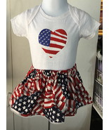 July 4th American Flag Short Sleeve burnout bodysuit & Skirt - Size 12 mo - $21.95