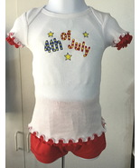 July 4th Short Sleeve Shirt with ruffled sleeves & hem + shorts - Size 2... - $15.95