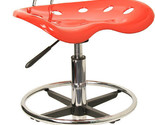 Flash Vibrant Red and Chrome Drafting Stool with Tractor Seat [LF-215-RED-GG]
