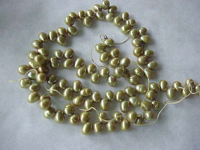 Khaki green top drilled fw pearls 16inch strand jewelry for Best jewelry making supplies