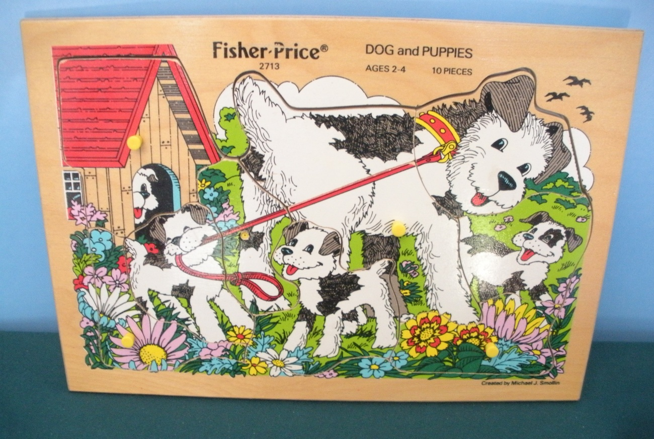 RARE Vintage Fisher Price Pick-Up and Peek #2713 Dog and Puppies Puzzle EXC++