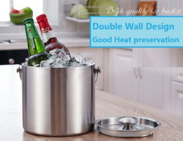 2 L Double Wall Stainless Steel Ice Bucket Wine Cooler - $64.44