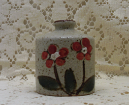 Vintage Stoneware Hand Painted Orange Flower Mid Century Bottle Vase - $9.80