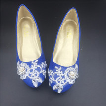 Royalblue Round toe Bridal Shoes,Blue Bridesmaid Shoes,Wide Feet Wedding... - £40.21 GBP