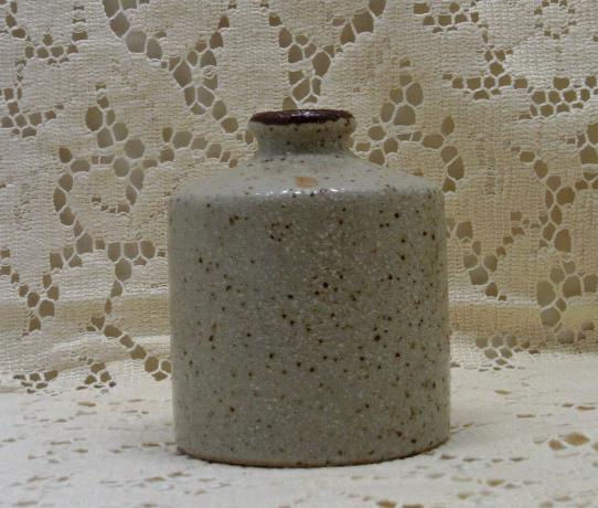 Vintage Stoneware Hand Painted Orange Flower Mid Century Bottle Vase