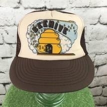Vintage Beehive Trucker Hat Cap Brown Bees SnapBack Mesh - $13.86