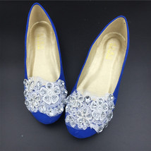 Low Heel Royalblue Lace Wedding Shoes/Blue Bridals Party shoes/Evening F... - £54.70 GBP
