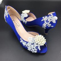 Low Heels Royalblue Lace Wedding Shoes/Low Heels Bridals shoes/Evening Heels - $68.00