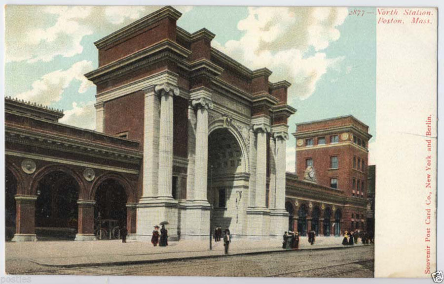 1900's BOSTON Mass. NORTH STATION Subway B&M RR Station Vintage POSTCARD Unused