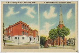 1930's FITCHBURG St Bernard High School & Church Mass. MA Massachusetts ... - $4.95