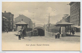 1900's East BOSTON Trolley T TUNNEL Entrance MAVERICK Square Mass. Vtg P... - $7.00